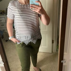 Stripped Shirt with Scalloped bottom